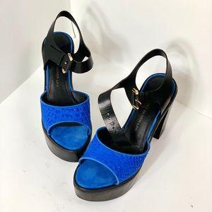 10 crosby derek lamb blue platform sandals heels